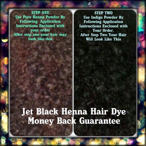 Jet Black Henna Couleur des cheveux / colorant 200 grammes (Étape 2 Processus)