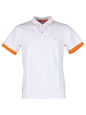 Stripes Fluo ElWhiteorange Collar Polo Sun68 Small A1911701 n80OPkwX
