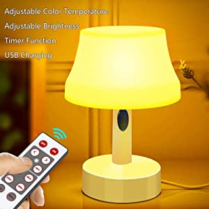 ZEEFO LED Night Light, Portable Simple Design Nursery Lamps, Remote Control Battery Powered Dimmable Table Lamp with Timer Function For Bedroom, Living Room, Kids Room (Remote Control LED Night Light)