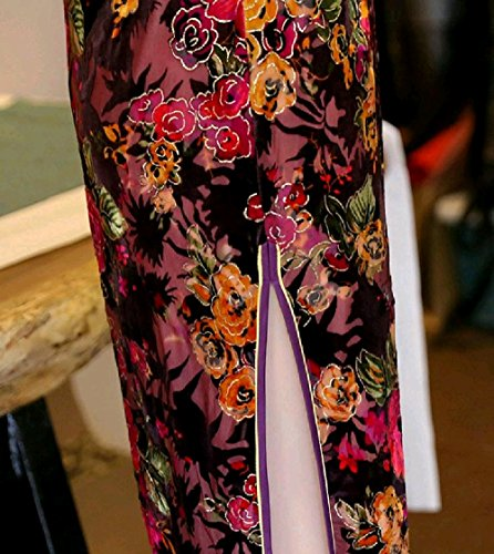 Pattern1 Side Long Dress Velvet Spring Women Coolred Slit Cheongsam Floral x67zWwSI