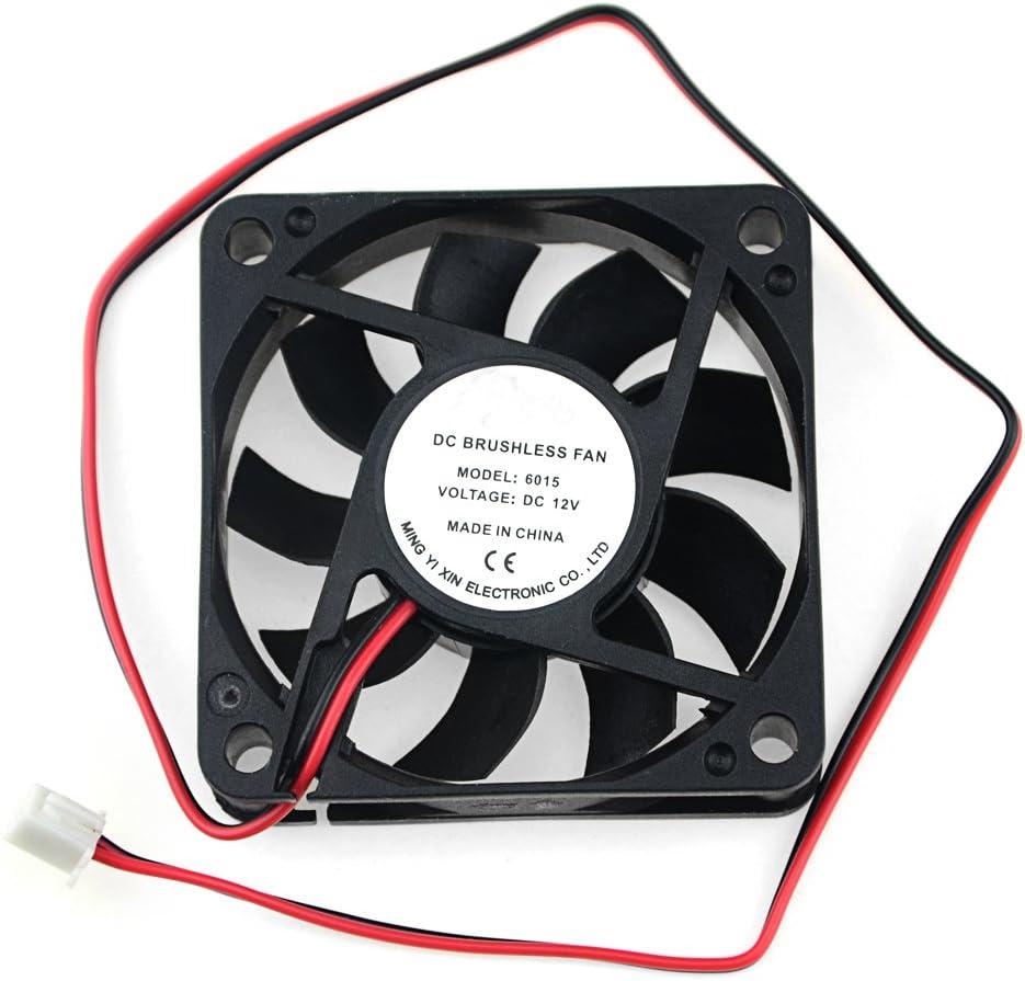 BXQINLENX 6015 Dc12v Quiet Brushless Cooling Fan Miniature Cooling Fans 2pin 60x60X15mm 9 Blade (3 PCS)
