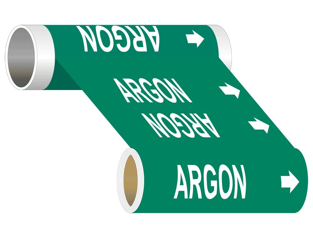 ComplianceSigns Wide Tape Roll ASME A13.1 Chemical / Gas Pipe Marker, 8 IN x 30 FT Green
