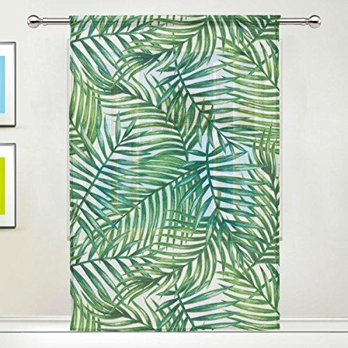 Sheer Palm Tree - WOZO Custom Summer Palm Leaf Sheer Panel Pair Curtains 55