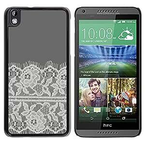 For HTC DESIRE 816 Case , Embroidery White Linen Grey - Diseño Patrón Teléfono Caso Cubierta Case Bumper Duro Protección Case Cover Funda