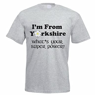 51a65f22aa64 I'm from Yorkshire What's Your Super Power - Rose/County / Funny Themed  Men's T-Shirt: Amazon.co.uk: Clothing