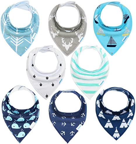 Baby bandana drool bibs for drooling and teething,soft and most absorbent baby bibs keep clothes clean,100/% organic cotton,unsex 8 pack cute baby bibs gift set