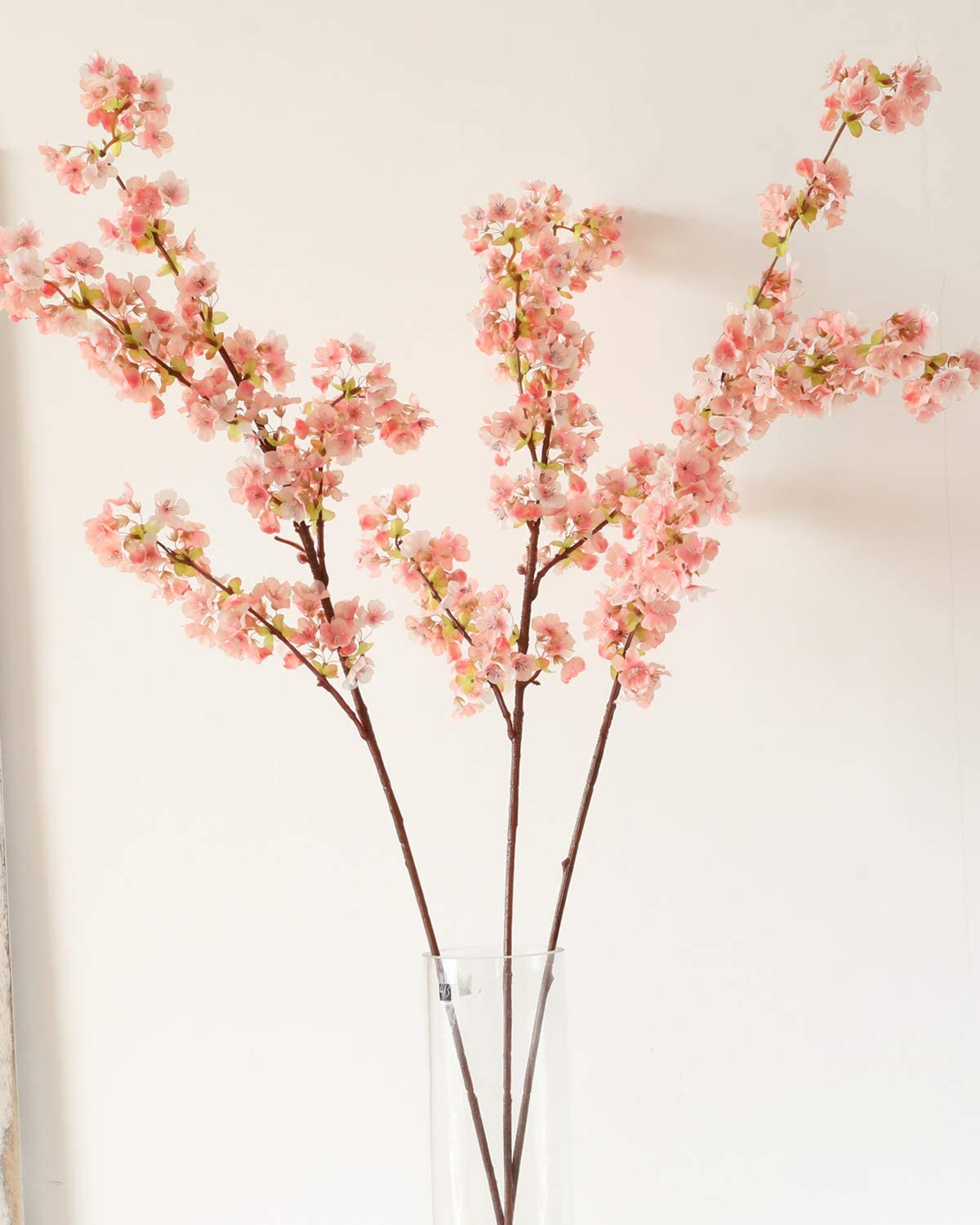 WenXin Artificial Cherry Blossom Flowers Silk,3pcs Peach Branches Tall Fake Flower Arrangements for Home Wedding Decoration 39 Inch (3pcs, Pink)