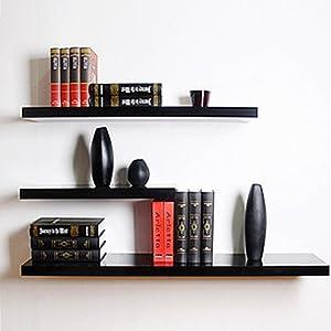 MultiWare Wall Shelves Density Board Floating Wall Display Shelves Home Storage Black