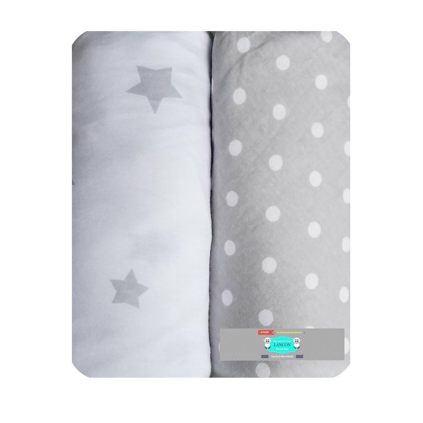 Bassinet Sheet Set by LANCON Kids - 2 Pack 100% Jersey Knit Cotton (Gray Star & White Polka Dot)