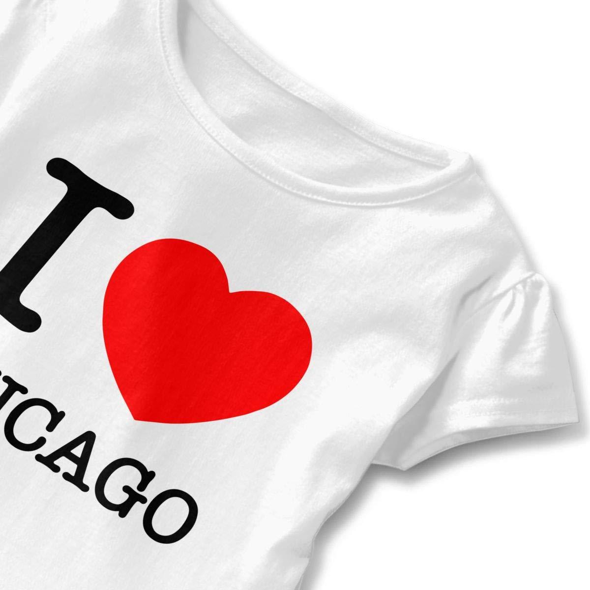 I Love Heart Chicago Baby Girls Short-Sleeved Tshirts Sportwear