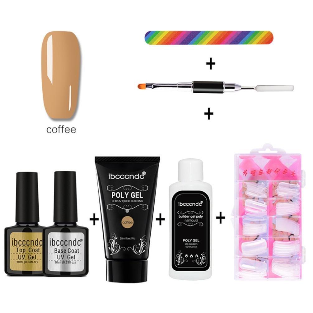 Nail Art Tools Decoration Manicure Pedicure Tool Set Kit 100pcs/Set Fake Nails, 1 X Poly Gel, 1 X Double-end Dead Skin Push, 1 X Nail File, 1 X Nail Diluent, 1 X Top Coat, 1 X Base Coat (# 02)