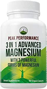 3 in 1 Advanced Magnesium Complex Vegan Capsules by Peak Performance. High Absorption and Bioavailability. 3 Best Magnesiums in One Supplement. Magnesium L-Threonate, Magnesium Glycinate 90 Pills