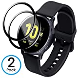 AMOVO [2 Pack] for Galaxy Watch Screen Protector [Active2 40MM] [Full Adhesive] Samsung Galaxy Watch Active2 40MM Glass Screen Protector [Tempered Glass] Compatibe with Case Cover (40MM, Black)