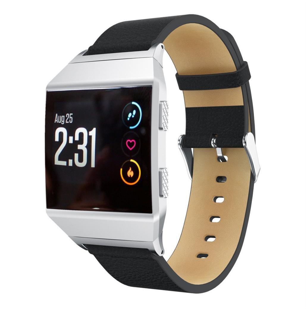 Fitbit Ionic帯、Liu Nianレザー交換用アクセサリーリストバンドストラップfor Fitbit Ionic Smart Watch ブラック ブラック B076P1TGC9