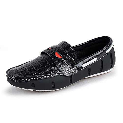 Mocasines para Caminar Zapatos de Cuero de Verano Zapatos Casuales de Cuero de cocodrilo de los Hombres Zapatos de Barco: Amazon.es: Zapatos y complementos