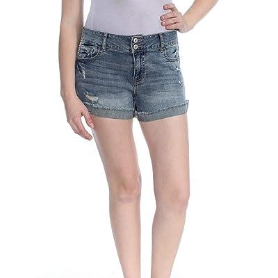American Rag Juniors' Ripped Cuffed Denim Shorts (Hugh, 0): Clothing