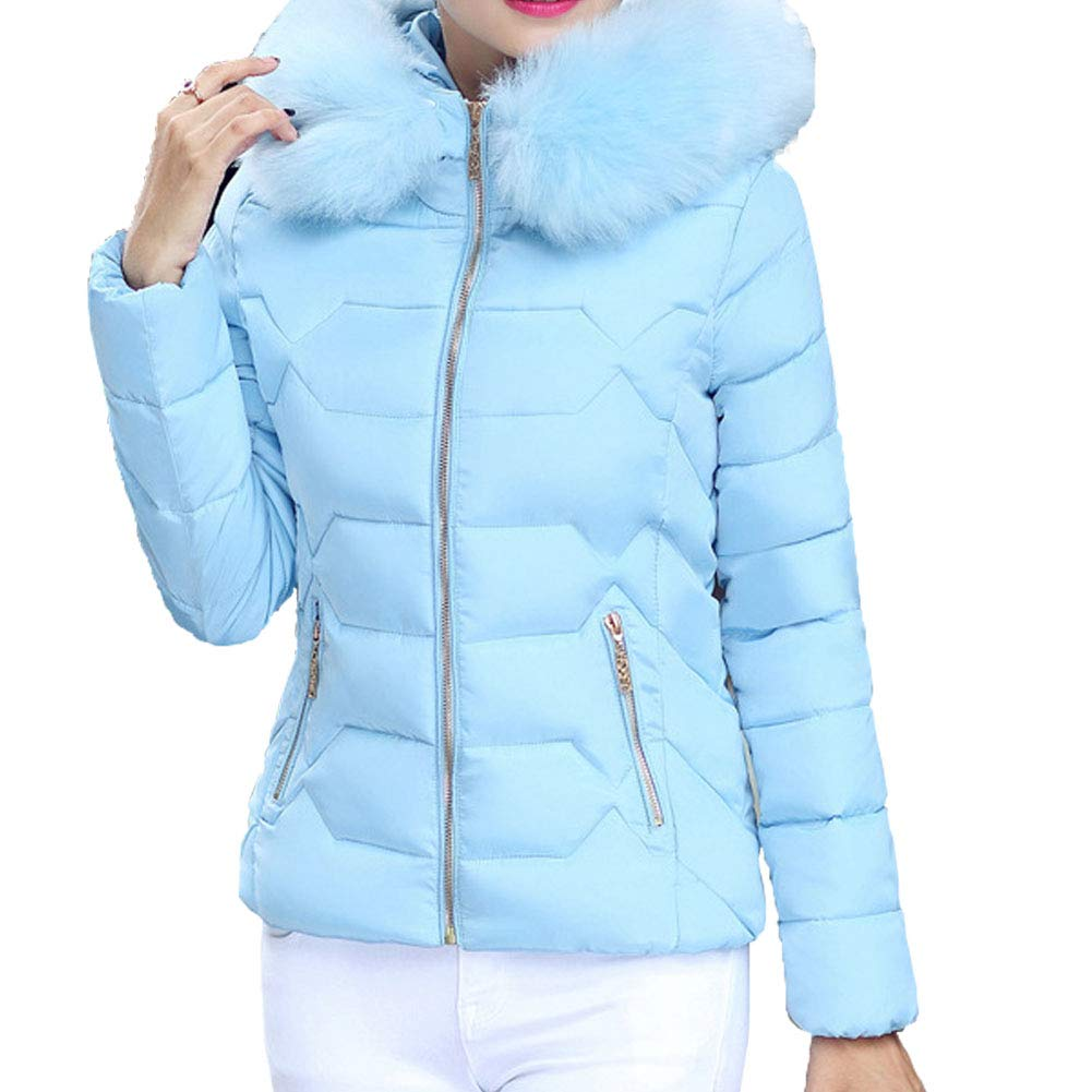 bluee LISUEYNE Winter Coat Women with Fur Hood Warm Women Parka Outwear Down Jacket