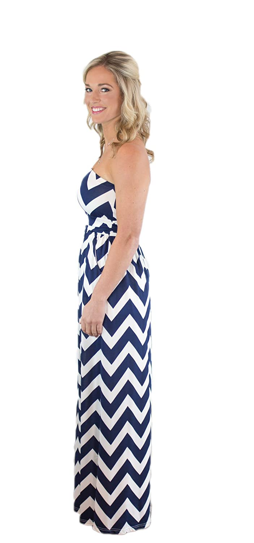 047c764010b7 Charm Your Prince Women s Sleeveless Summer Chevron Empire Maxi Dress Royal  Blue Medium at Amazon Women s Clothing store
