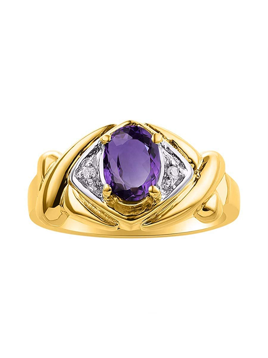 RYLOS Simply Elegant Beautiful Amethyst /& Diamond Ring February Birthstone