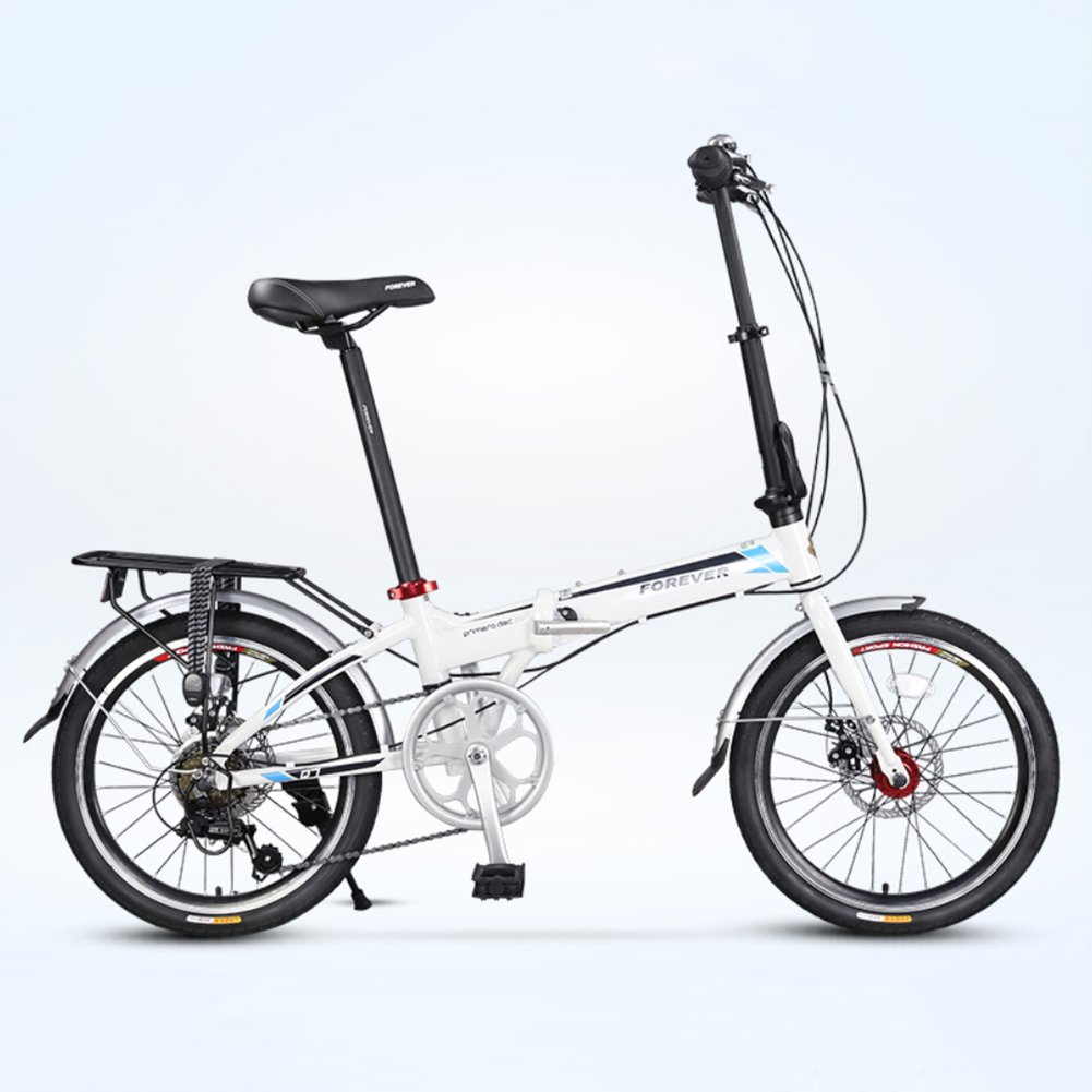 大人 折りたたみ自転車, 折りたたみ自転車 超軽量 ポータブル 7 スピード シマノ アルミニウム合金 街乗り 折り畳み自転車 B07D2C8XY4白 20inch
