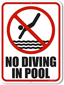 Honey Dew Gifts Pool Decor, No Diving in Pool 9 inch by 12 inch Metal Aluminum Pool Signs, Swimming Pool Outdoor Signs, Made in USA