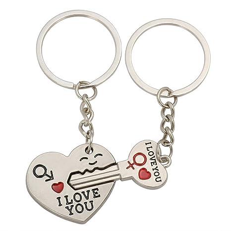 Haoduo llavero de corazón y una llave de corazón Anillo llavero Set de amantes de pareja, dulce regalo para San Valentín Boda de Navidad, llavero de ...