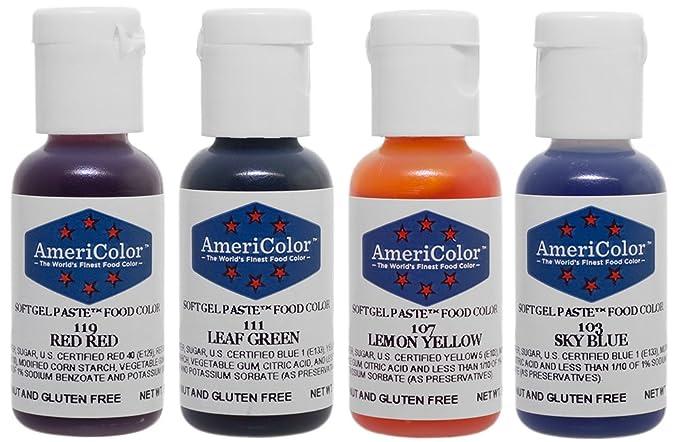 Amazon.com: Americolor 4-Color Soft Gel Paste Food Color Kit ...