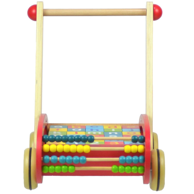 boppi/® Lauflernwagen aus Holz inklusive Kl/ötze mit Buchstaben und Zahlen