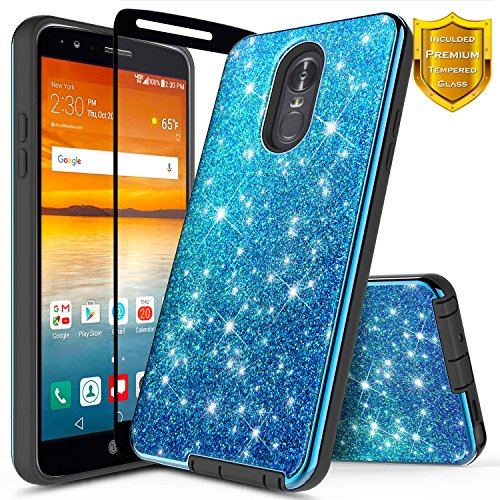 LG Stylo 4 Case, LG Stylo 4 Plus Case, LG Q Stylus w/[Full Cover Tempered Glass Screen Protector], NageBee Glitter Sparkle Shiny Bling Hybrid Shockproof Protective Cute Case -Electroplate Blue