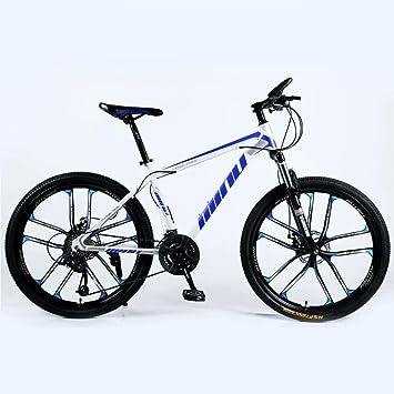 Novokart-Mountain Bike Unisex, Bicicletas montaña 21/24/27 Pulgadas, MTB para Hombre, Mujer, con Asiento Ajustable, Frenos de Doble Disco, Blanco Azul, 10 cortadores Rueda, 24-Speed Shift: Amazon.es: Deportes y aire libre