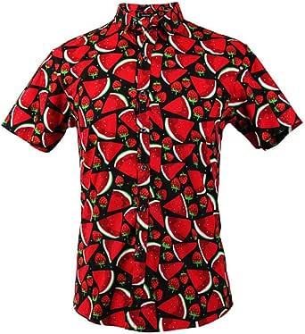 TRANKILO Camisa Negra Estampada con Sandías y Fresas en Color Rojo. (L): Amazon.es: Ropa y accesorios