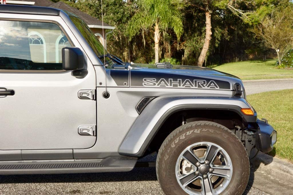 2018 to Present The Pixel Hut gs00284 Matte Black Sahara Hood Decals for Jeep Wrangler JL