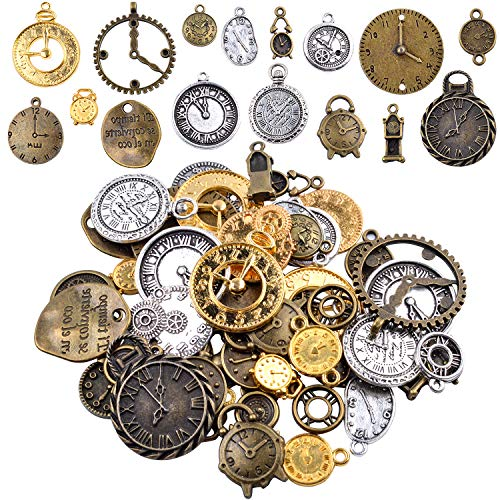(Hendevl 100G Mixed Antiqued Charms Clock Face Charm Pendant for DIY Crafts, Gears, Jewelry Making, Steampunk)