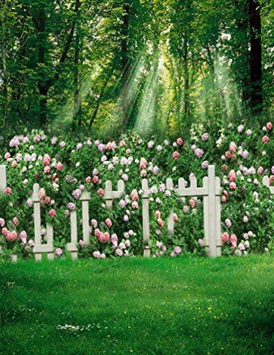 A.Monamour Escena del Jardín Cercas Blancas Sol A Través De Los Árboles Verdes Flores Estudio De La Planta Fondos De Fotografía: Amazon.es: Electrónica