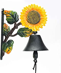 Sungmor Heavy Duty Cast Iron Wall Bell - Decorative Hand-Painted Sunflower Hand Bell - Manually Shaking Wall Hanging Doorbell - Indoor Outdoor Wall Mounted Dinner Bell - Garden Home Wall Decoration