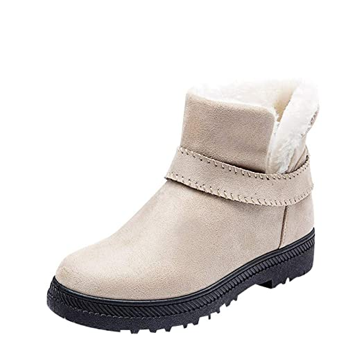 c1a3265c4ddc9 Amazon.com: Gyoume Women Winter Slip On Boots Ankle Boots Keep Warm Boots  Shoes Flat Snow Short Boots Round Toe Shoes: Clothing