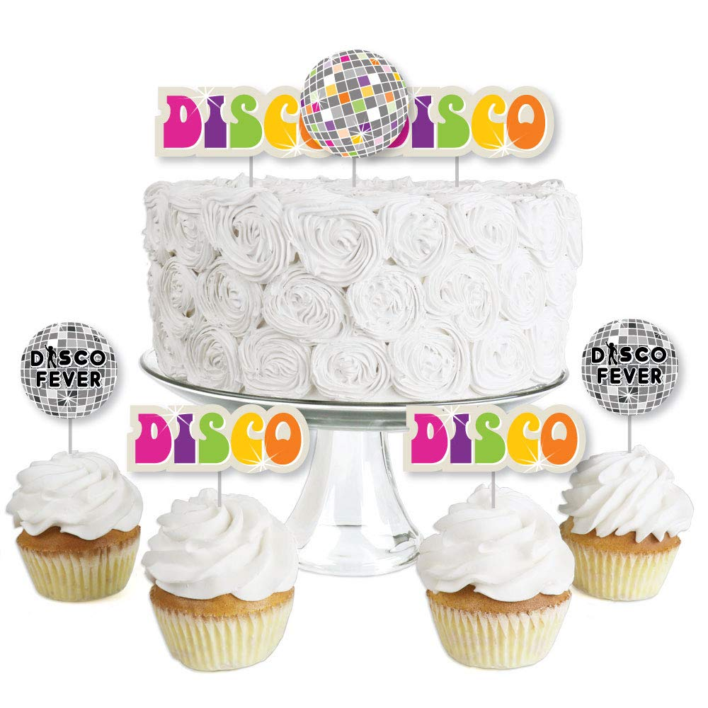 70's Disco - Dessert Cupcake Toppers - 1970s Disco Fever Party Clear Treat Picks - Set of 24
