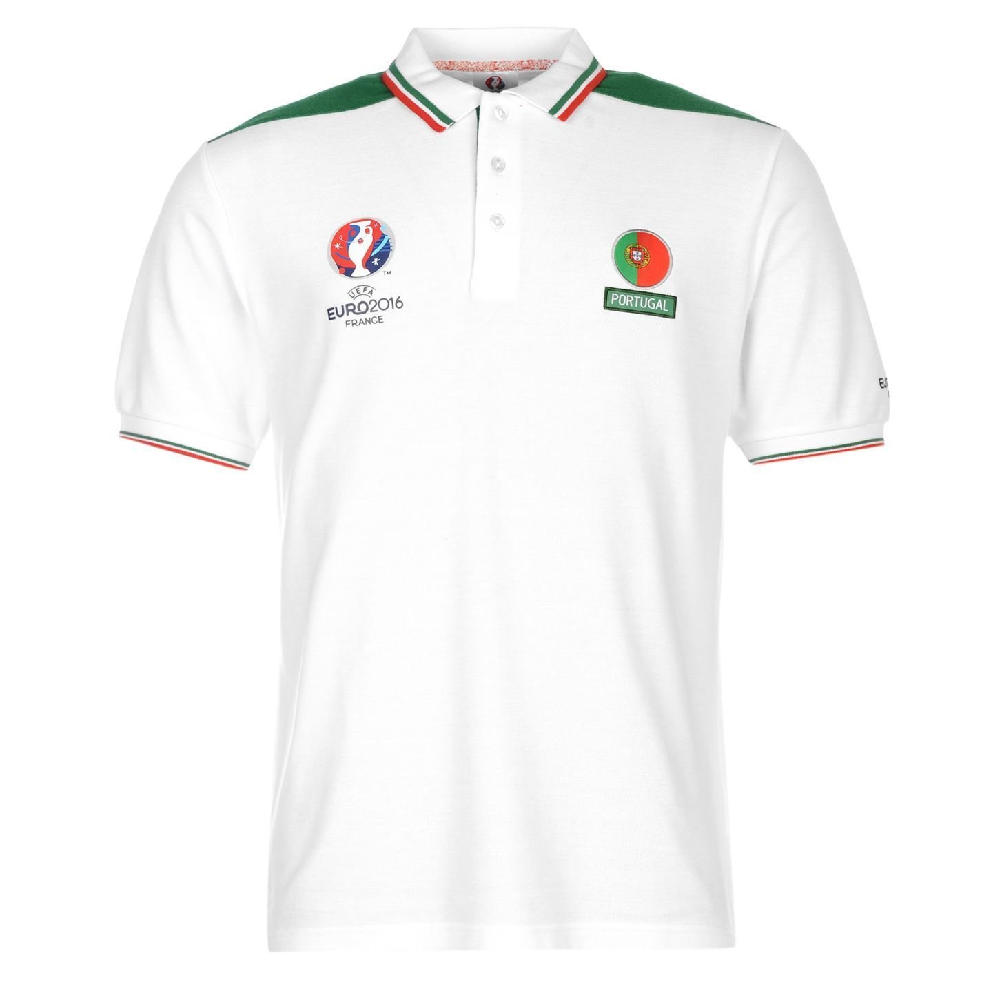 UEFA Euro 2016ポルトガルポロシャツメンズホワイト/グリーンFootball Soccer Collared Top B01GKD6572Small