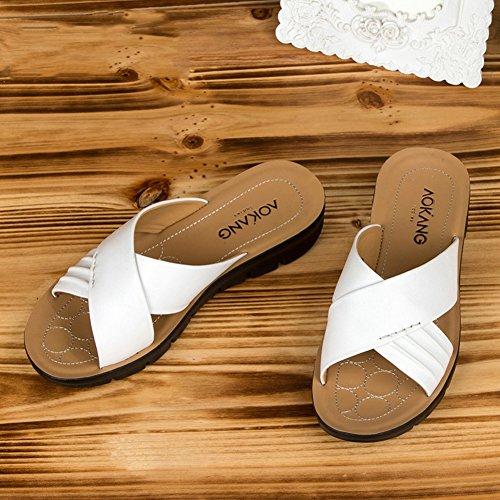 Donna Piatto QIDI Rosso Moda Pantofole UK6 Fondo Stagione Bianco Plastica Colore Nero Estiva dimensioni Bianca sandali Rosso EU39 qIIgvA