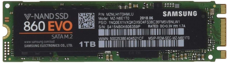 "Samsung MZ-N6E1T0BW SSD 860 EVO M.2, 1T, 2.5"" SATA III, Verde/Nero"