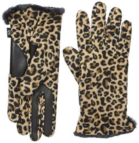 Isotoner Women's Stretch Fleece Gloves With Microluxe And Smart Touch Technology, Leopard, One Size