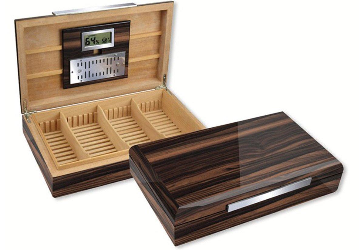 THE Vanderbilt Desktop High Lacquer Cigar Humidor - Color: Ebony
