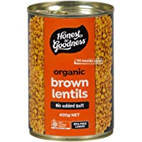 Honest to Goodness Organic Brown Lentils - BPA Free (Cooked), 400g