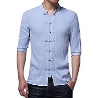 Leaf2you Blusa de verano de media manga estilo retro chino camisetas tops cuello soporte hebilla playera de color sólido