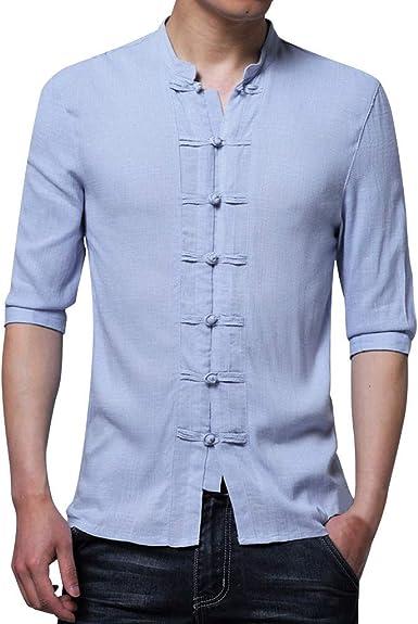Gusspower Camisa de Botones Vintage Hombre Algodón Blusa Manga 1/2 Camiseta Top Sin Cuello De Color Sólido Blusas Suelta Camisas De Trabajo Suave Tallas Grandes Casual Cómodo Transpirable Verano: Amazon.es: Ropa y