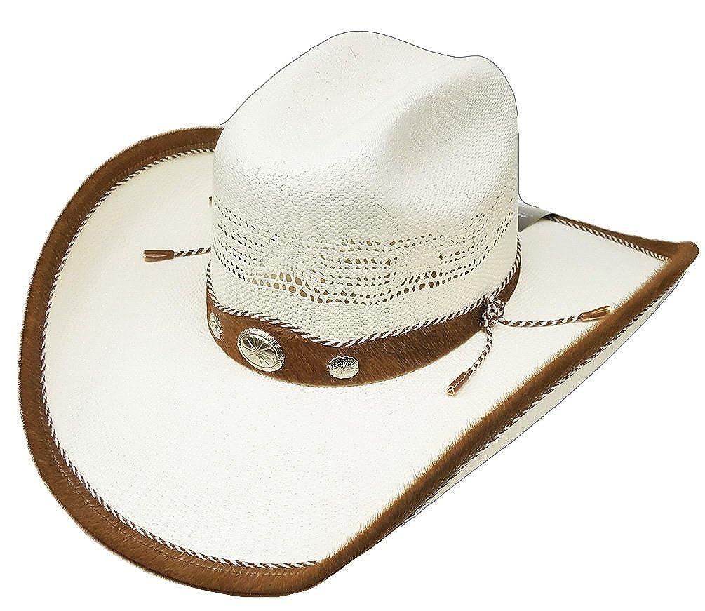 Modestone Straw Cowboy Hat Genuine Cow Leather Hair On Trim   Hatband White   Amazon.co.uk  Clothing d0cd2c9130b