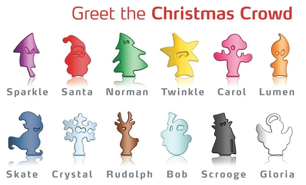 12 Different Colors and Unique Christmas Themed Character Shapes