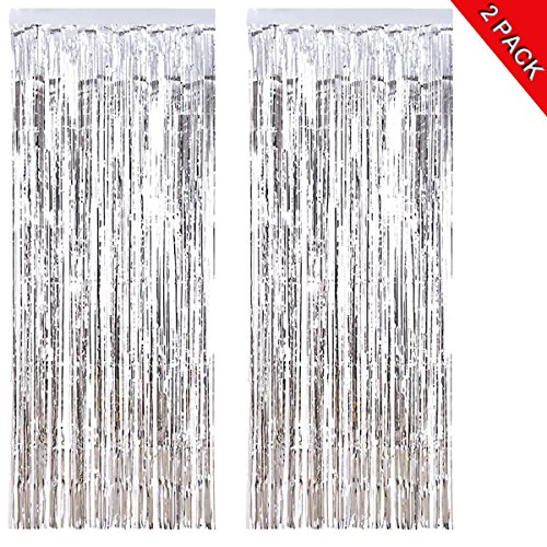 ANREONER 2 Pack Shiny Photo Backdrop, 3.2 ft x 9.8 ft Metallic Tinsel Foil Fringe Curtain Background for Birthday Party Prom Wedding Christmas Decoration, Best Xmas Supplies & Accessories-Silver ()