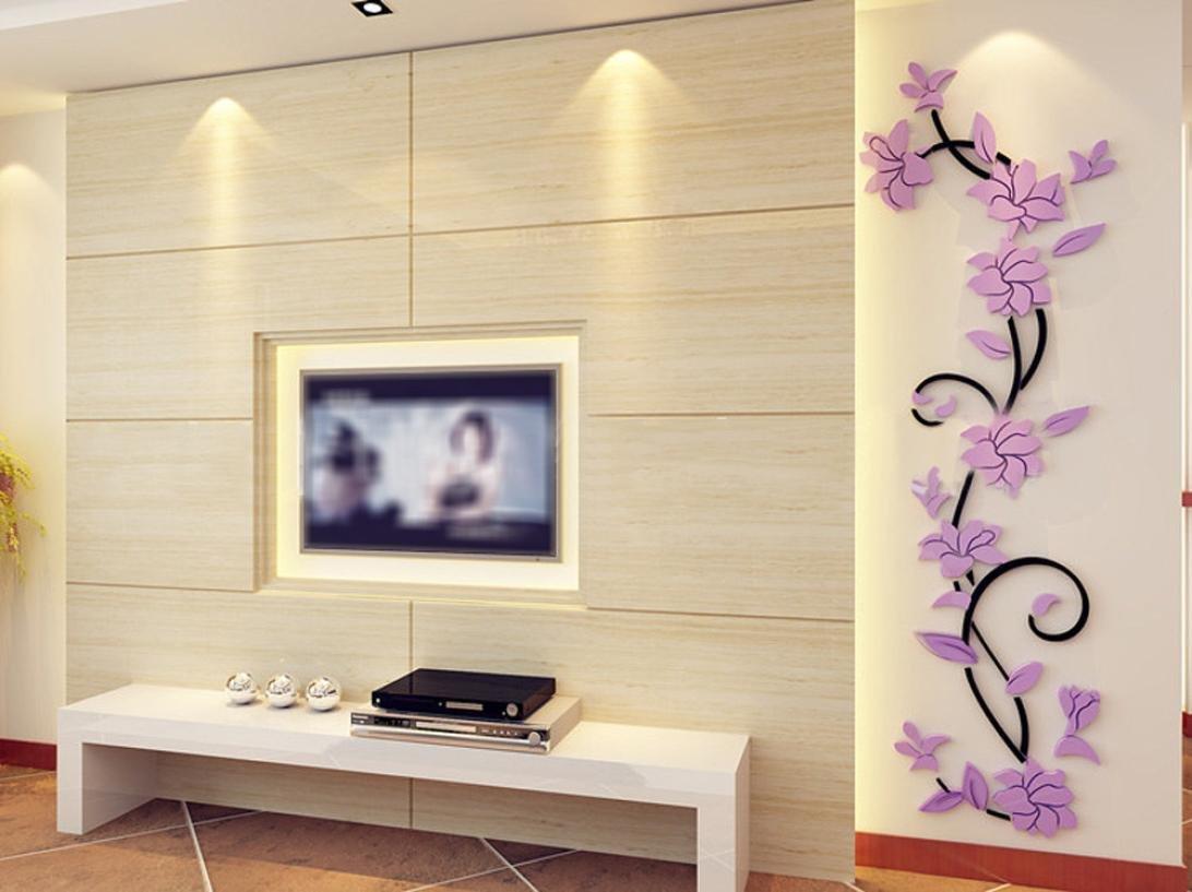 Jamicy® DIY 3D Acryl Blume Wand Aufkleber Wohnzimmer Schlafzimmer TV  Hintergrund Heimtextilien (Lila): Amazon.de: Baumarkt