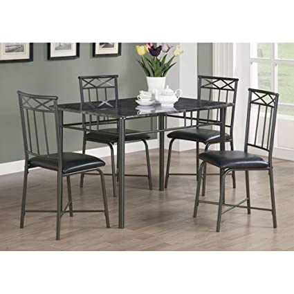 Monarch Specialties Marble Look 5 Piece Metal Dining Set, Grey/Charcoal